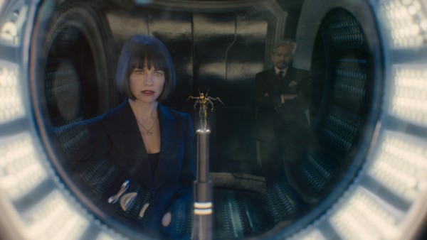 Marvel's Ant-Man L to R: Hope Van Dyne (Evangeline Lilly), the Yellowjacket suit, and Hank Pym (Michael Douglas) Photo Credit: Film Frame © Marvel 2015