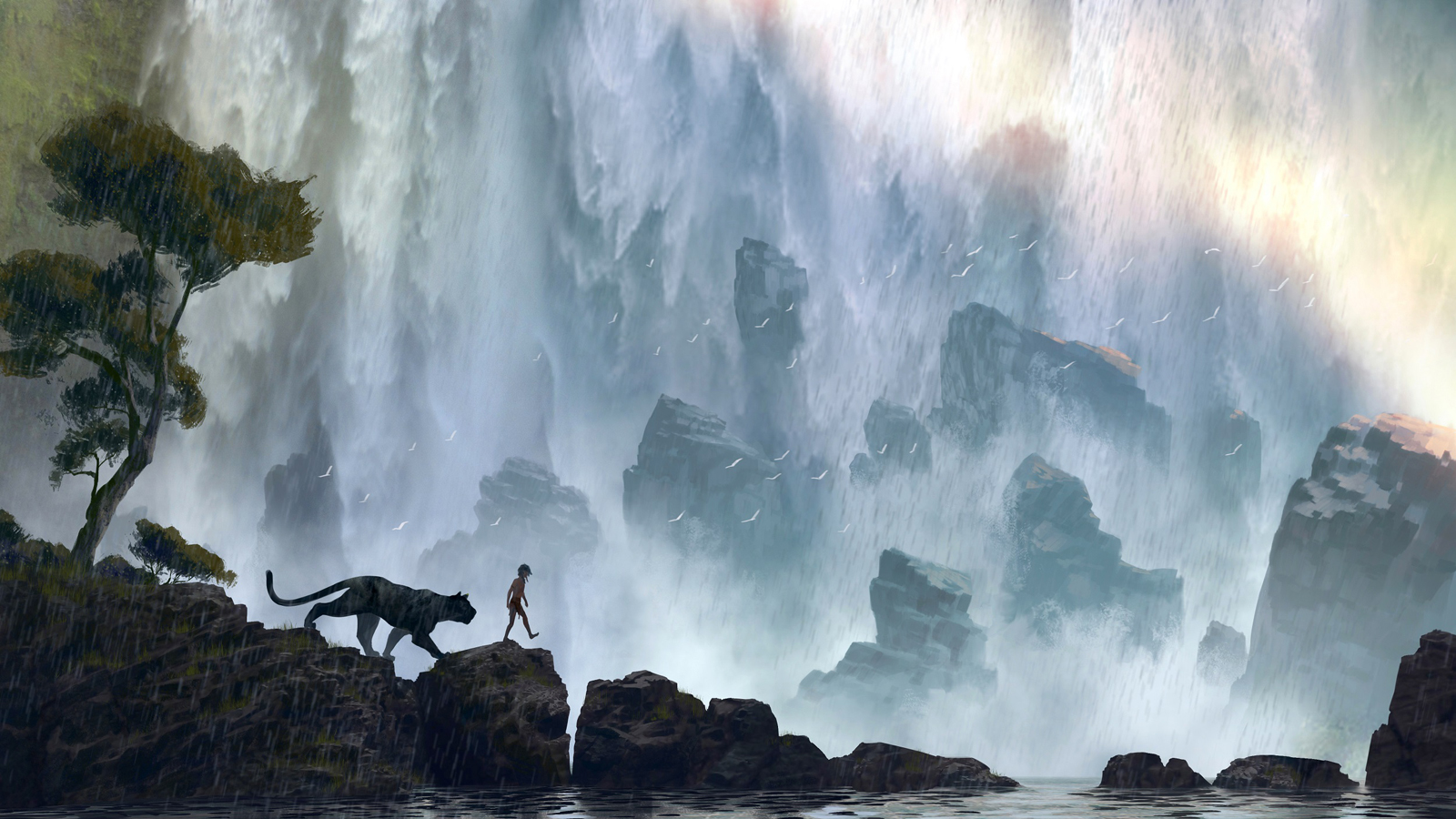 """Bagherra (voice of Ben Kingsley) mentors Mowgli (newcomer Neel Sethi) in """"The Jungle Book."""" In theaters Oct. 9, 2015, the all-new live-action epic adventure tells the tale of Mowgli, a man-cub raised in the jungle by a family of wolves, who embarks on a captivating journey of self-discovery when he's forced to abandon the only home he's ever known. Concept art by: Jonathan Bach. ©2014 Disney Enterprises, Inc. All Right Reserved."""